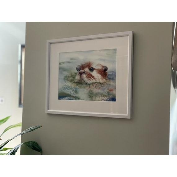 Otter Taking A Dip - Watercolour Print