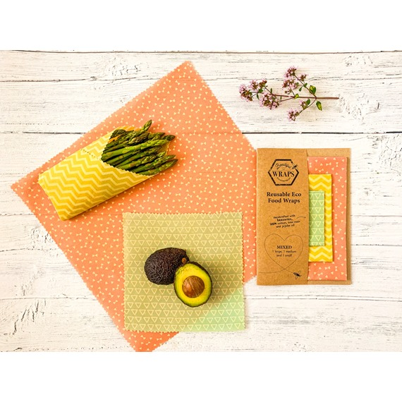 Mixed pack. 1 Large, 1 medium and 1 small Beeswax wrap.