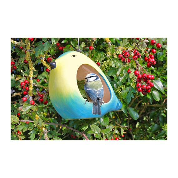 Ceramic Blue Tit Bird Feeder