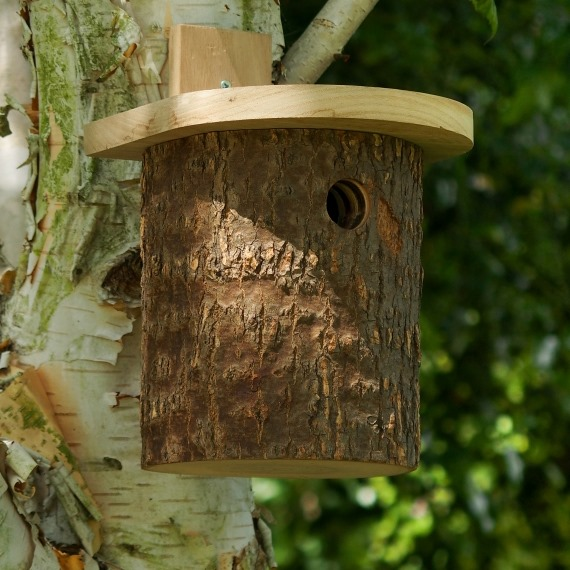 Natural Log Tit Nest Box