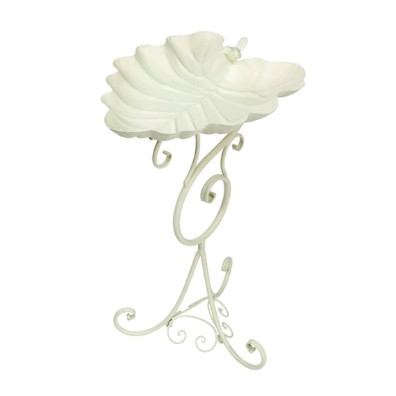 Decorative Leaf Painted Finish Bird Bath