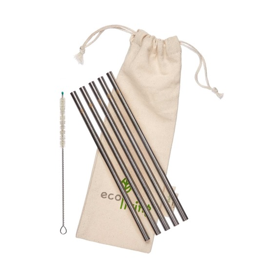 5 eco-Living Stainless Steel Smoothie Straight Drinking Straws