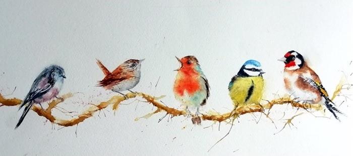 Bird watercolour print